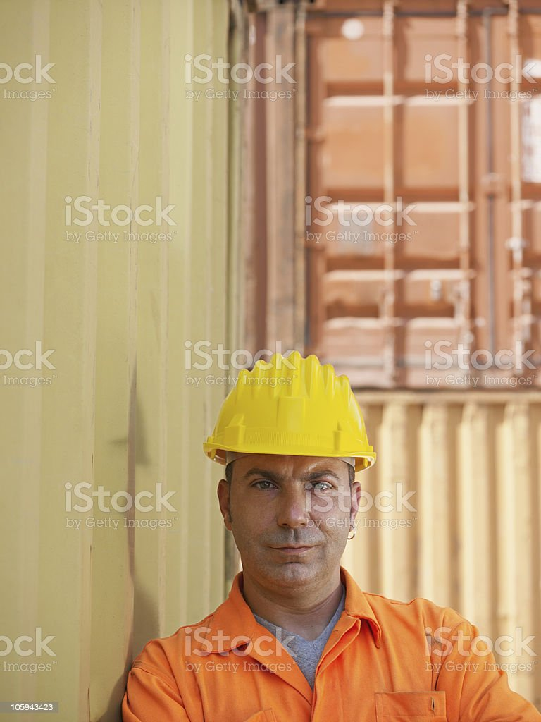industrial worker in warehouse royalty-free stock photo