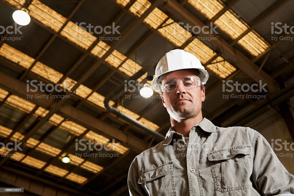 Industrial worker in warehouse stock photo