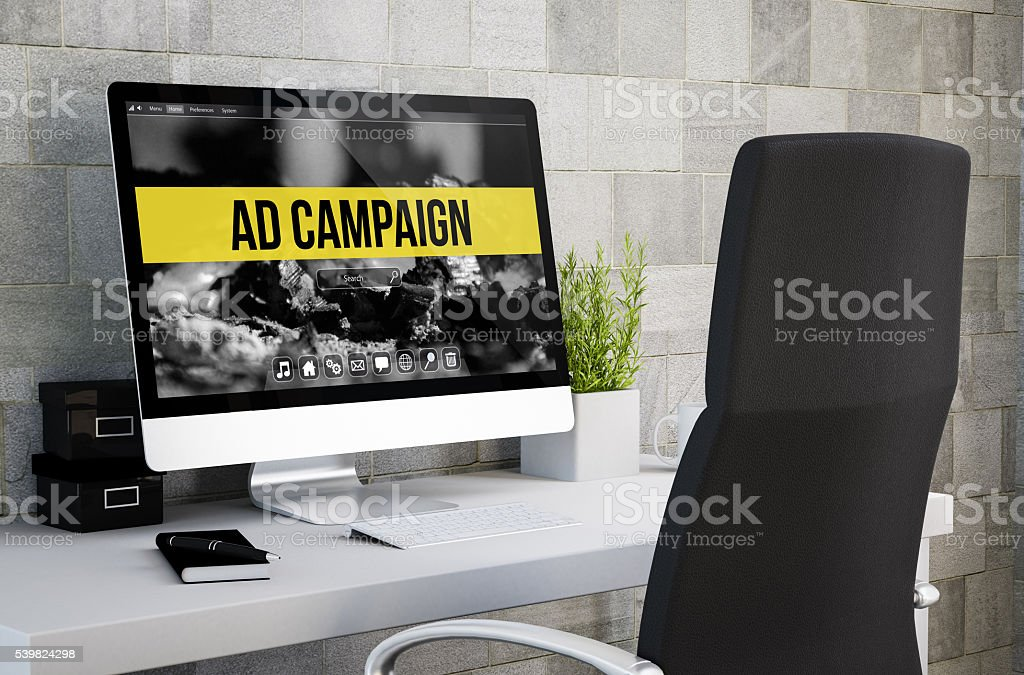 industrial workspace ad campaign stock photo
