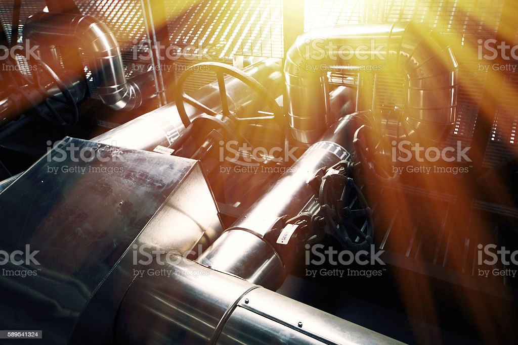 Industrial zone, Steel pipelines and equipment stock photo