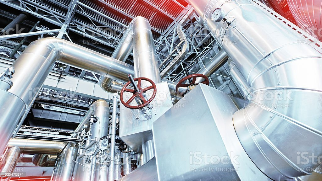 Industrial zone, Steel pipelines and valves stock photo