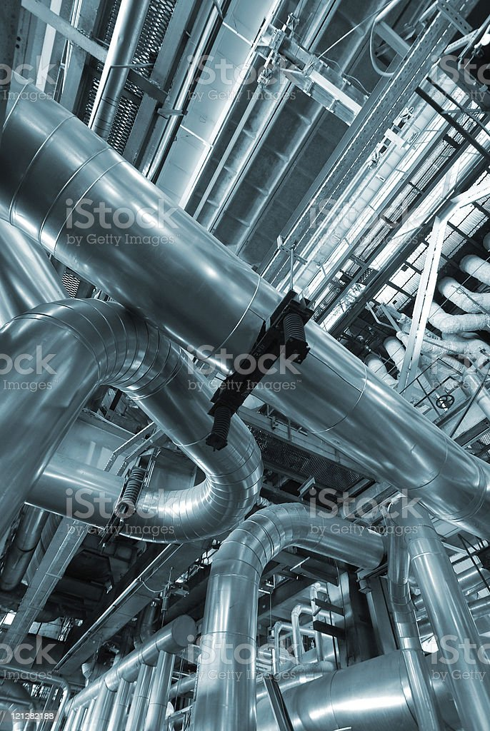 Industrial zone, Steel pipelines in blue tones royalty-free stock photo