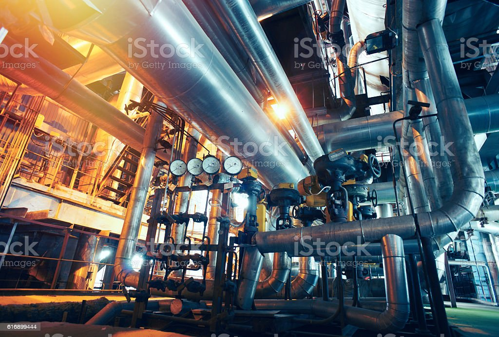 Industrial zone, Steel pipelines, valves and gauges stock photo