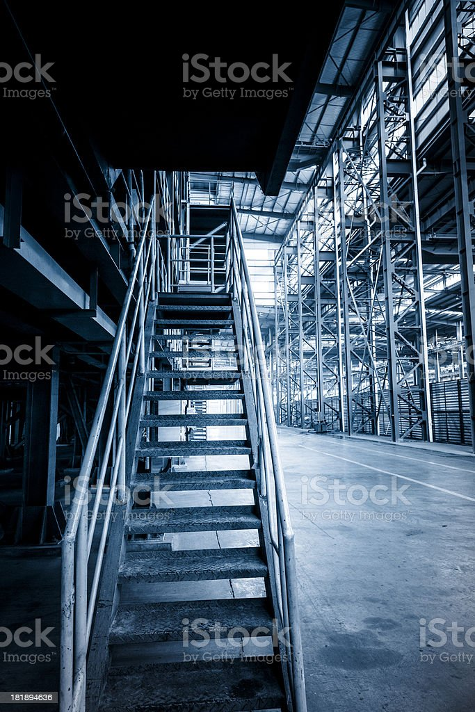 Industrial zone, steelstairs  in a  plant royalty-free stock photo