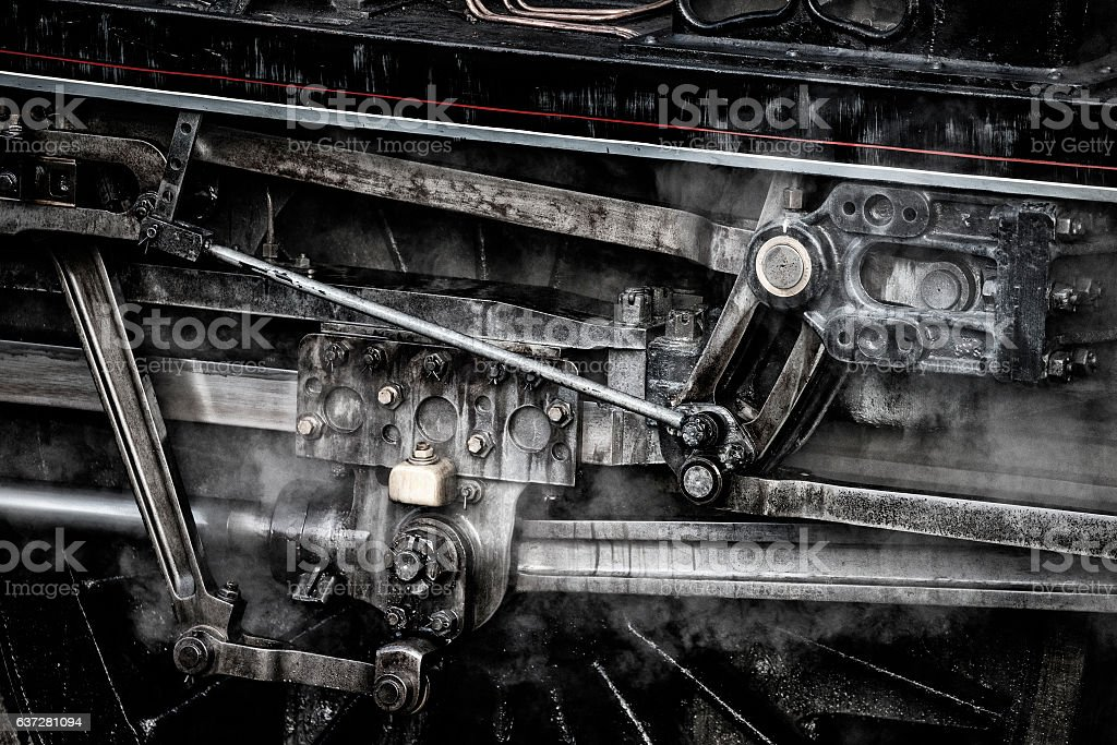 Industrialised grunge detailed close up of vintage steam train pistons stock photo