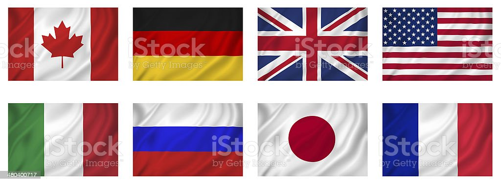 G8 Industrialized Countries Flags royalty-free stock photo