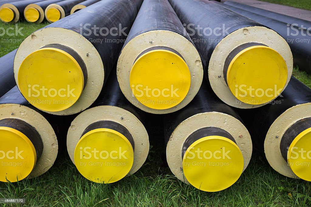 industrially isolated pipes stock photo