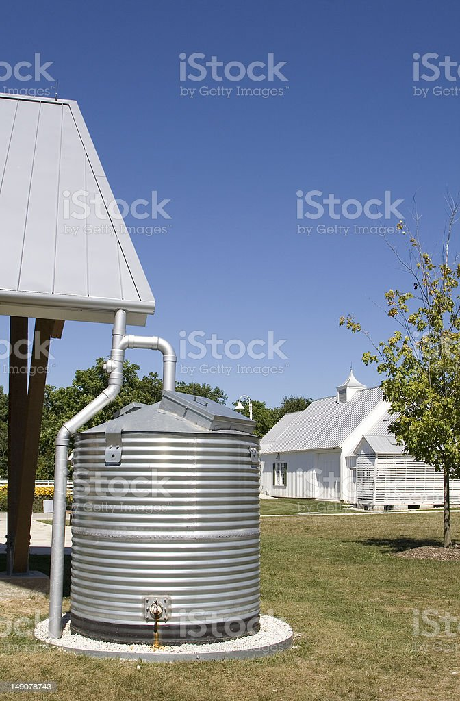 Industrial-size rain water collection container stock photo