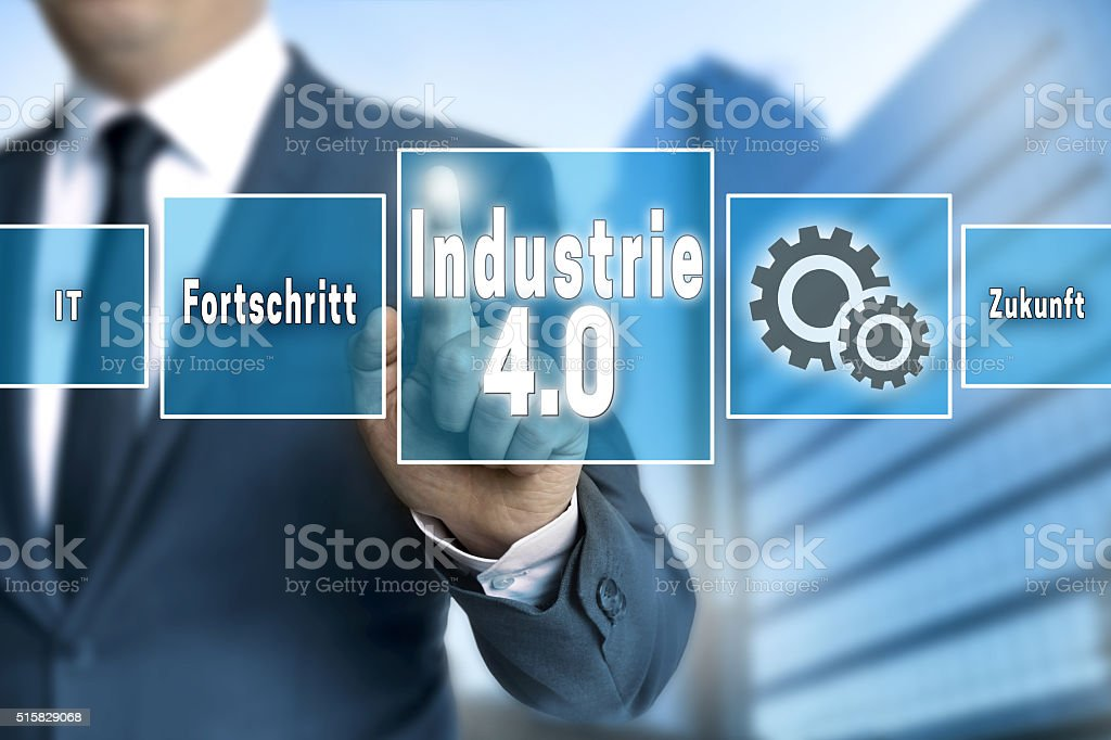 Industrie 4.0 in german industry touchscreen is operated by busi stock photo