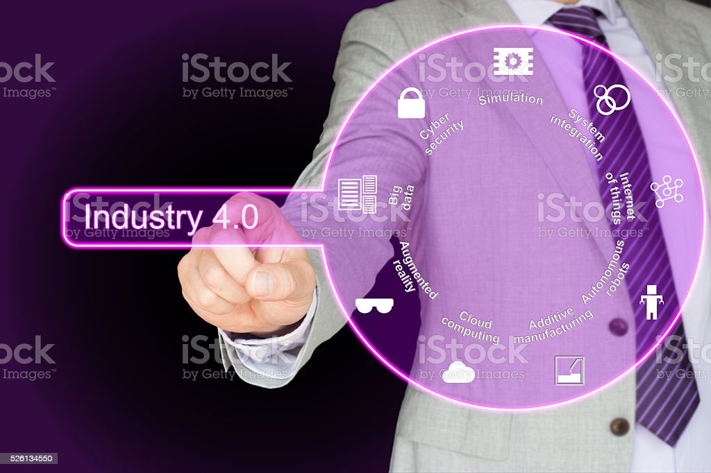 Industry 4.0 concept in purple stock photo