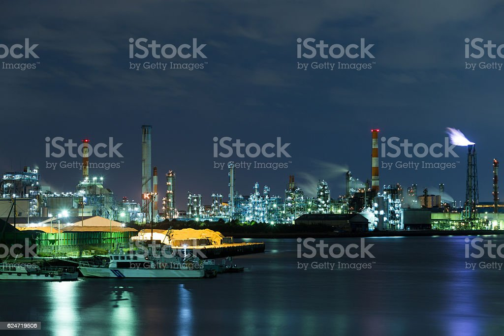 Industry area in the night stock photo