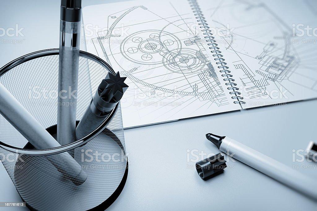 Industry Blueprint-Engineering Document royalty-free stock photo