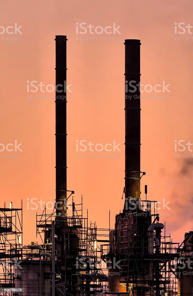 Industry Chimneys, Botlek. stock photo