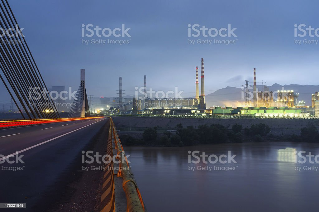 Industry Factory near the Yellow River,  China royalty-free stock photo