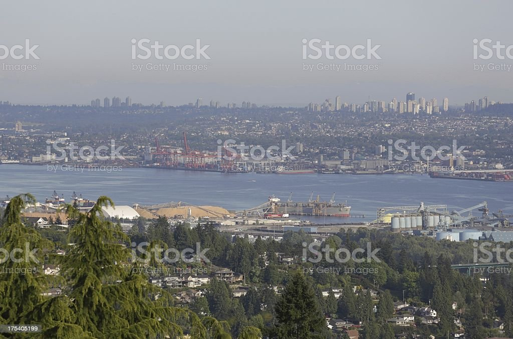 Industry in Burrard Inlet, Vancouver royalty-free stock photo