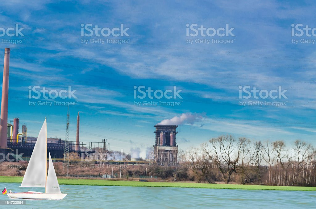 Industry, nature and leisure in harmony stock photo