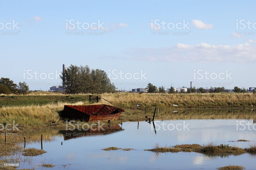 industry old and new - barge power station royalty-free stock photo