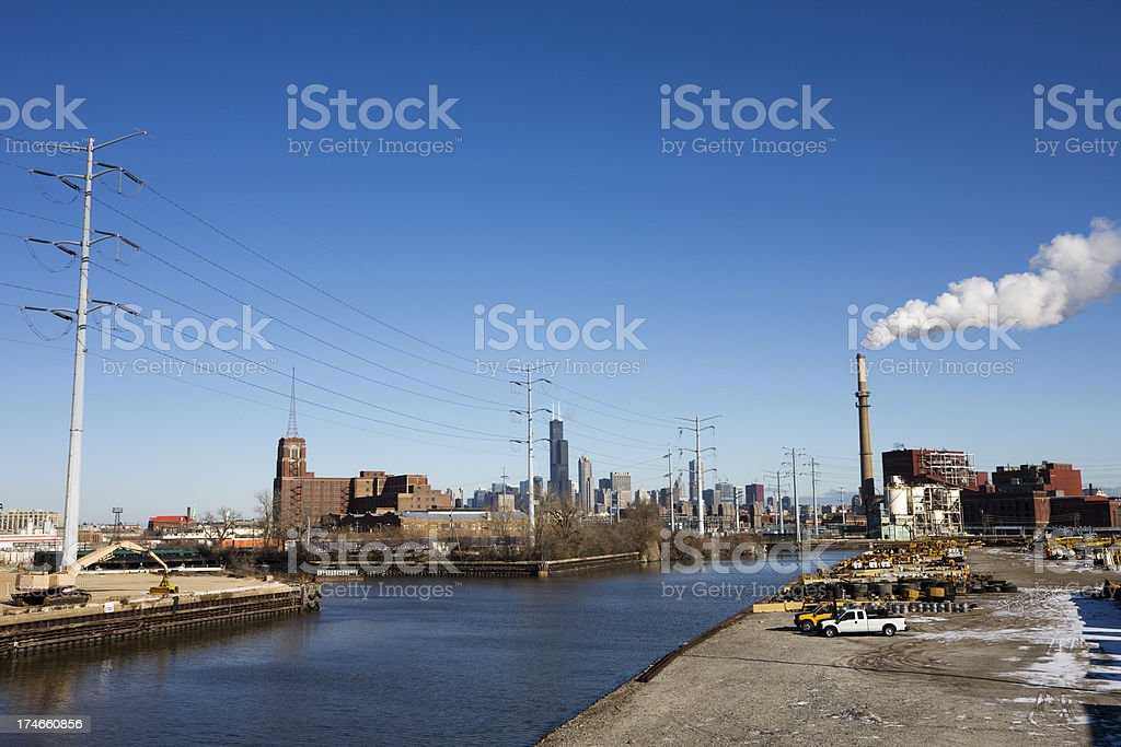 Industry on South Branch Chicago River stock photo