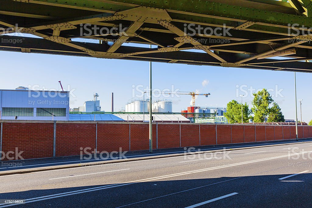 industry park from roadside with railway bridge royalty-free stock photo