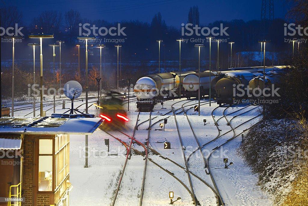 Industry Railroad Yard At Night royalty-free stock photo