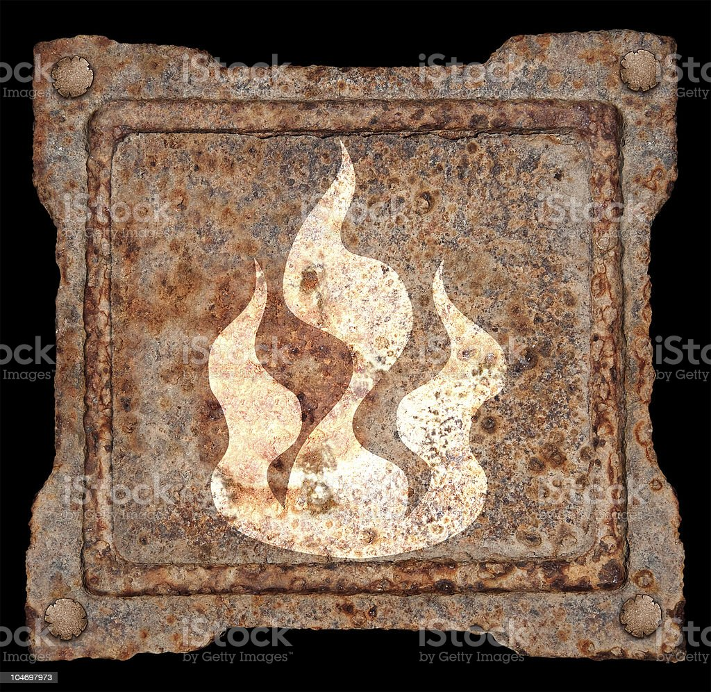 Industry warning sign icon old metal, isolated on black background royalty-free stock photo