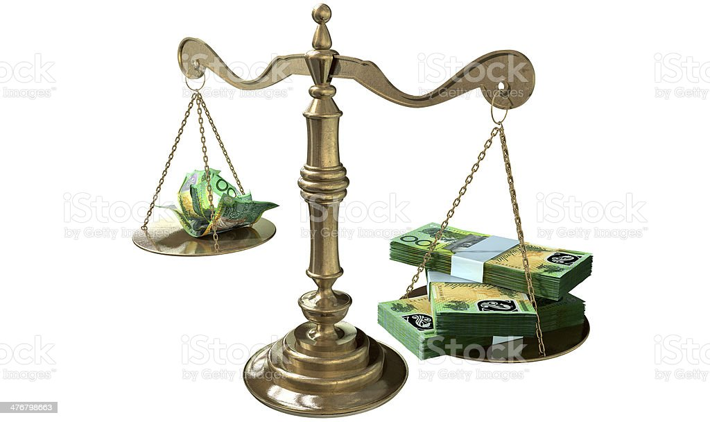 Inequality Scales Of Justice Income Gap Australia stock photo