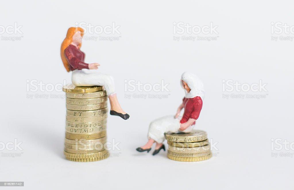 inequality western & Muslim women stock photo