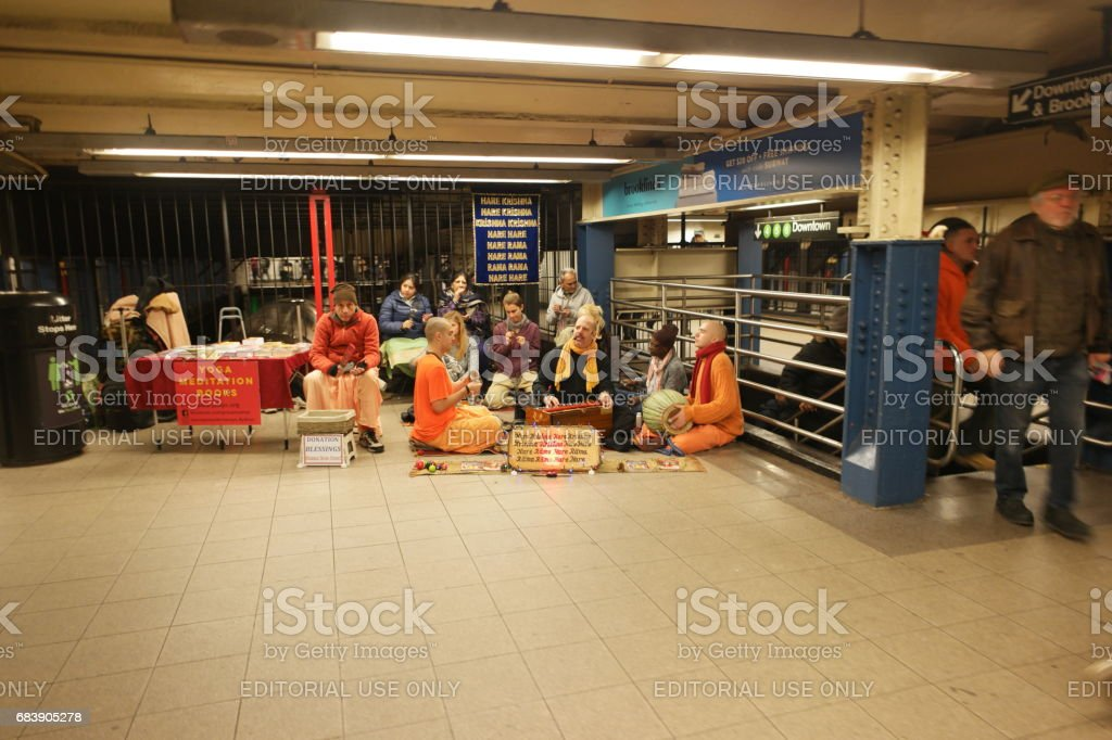 infamous hare krisna group of new york city stock photo