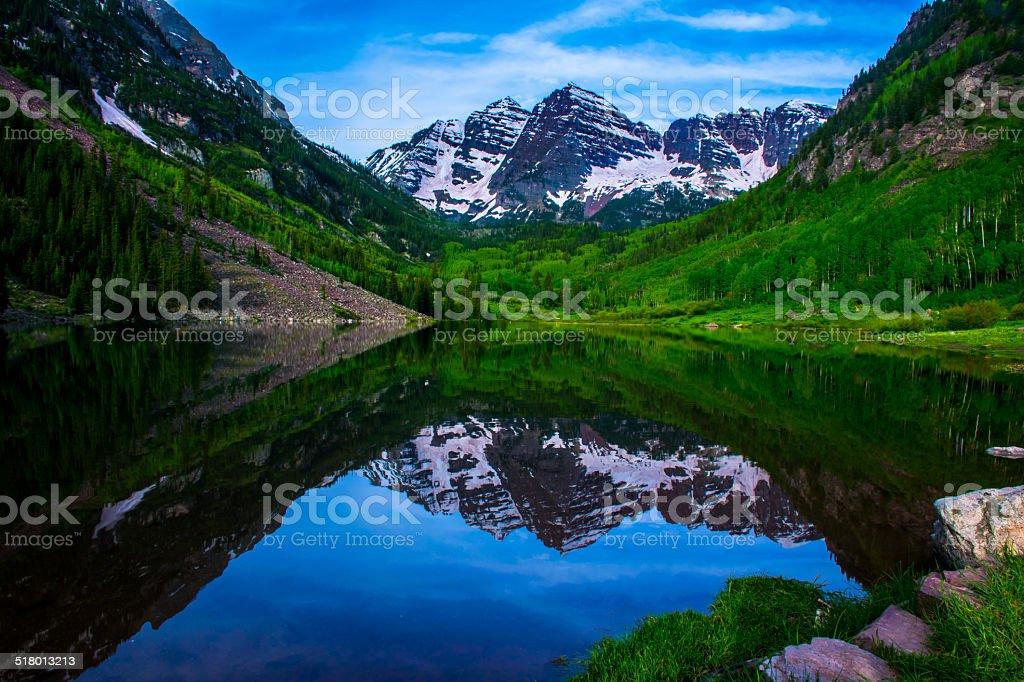 Infamous Maroon Bells June Snow Reflection Roschetzky stock photo