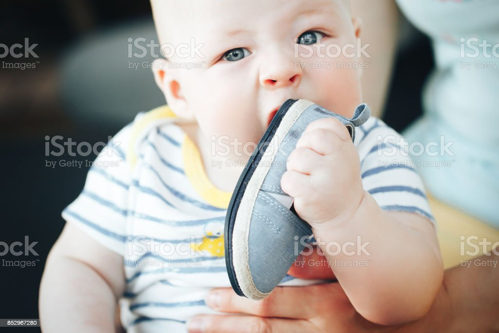Infant Baby Child Boy Six Months Old is Takes his Shoe in the Mouth stock photo