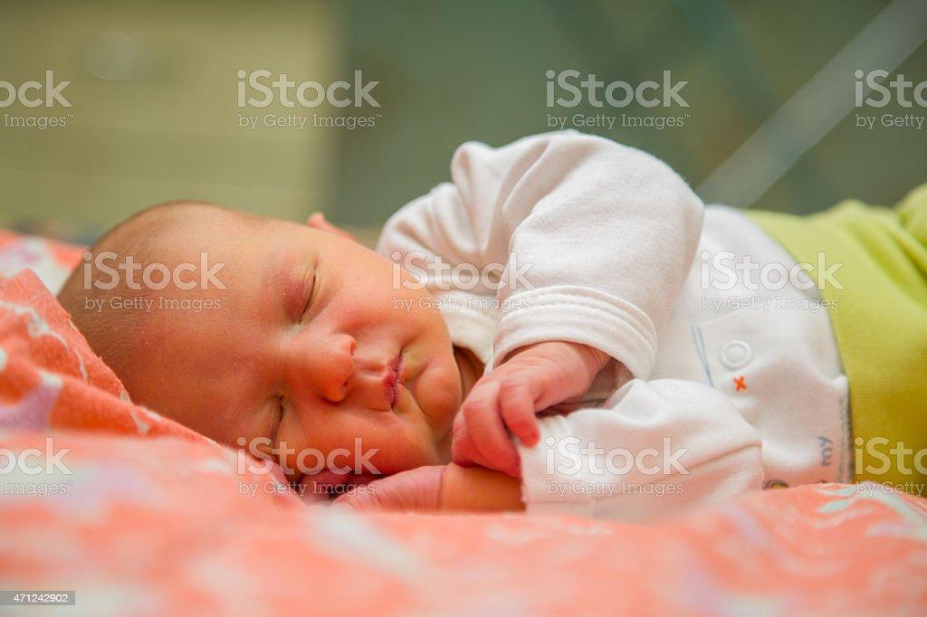 Infant baby sleeps stock photo