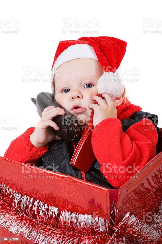 infant in the christmas box royalty-free stock photo