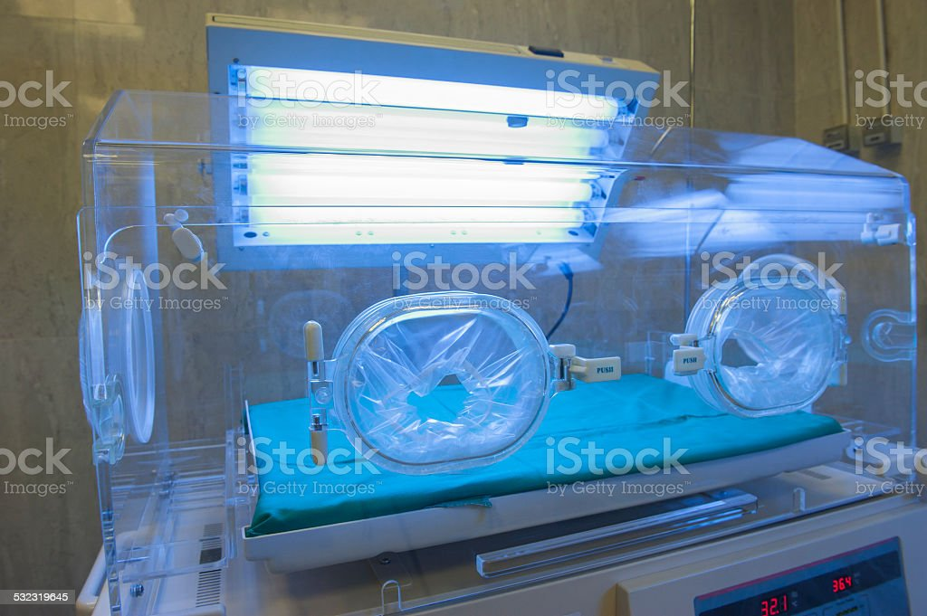 Infant incubator in a hospital ward stock photo