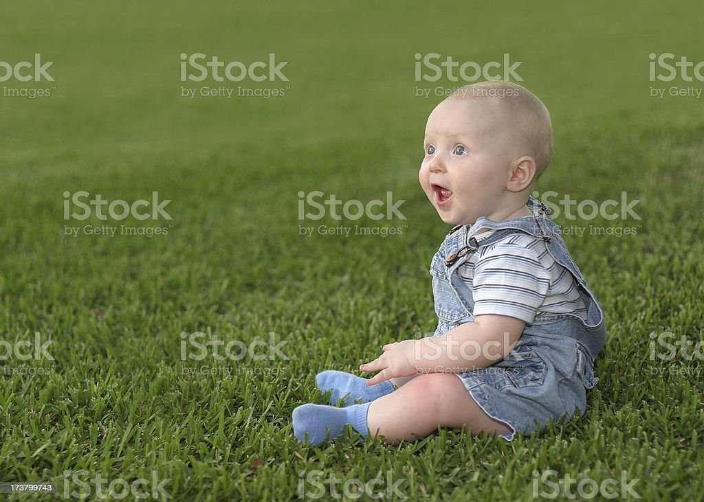 Infant on grass royalty-free stock photo