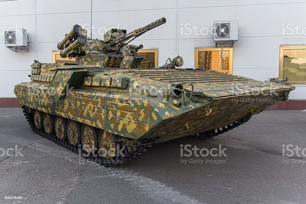 Infantry fighting vehicle of Ukrainian origin. Army and industry stock photo