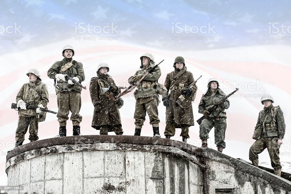 WWII US Infantry Heroes stock photo
