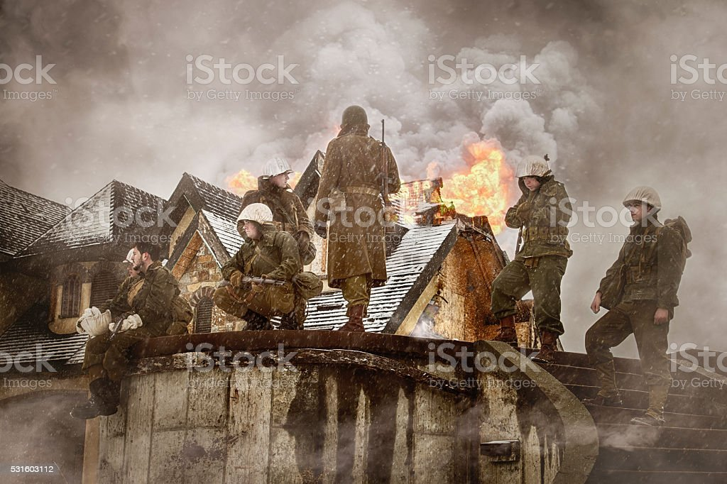 WWII US Infantry Liberators Europe stock photo