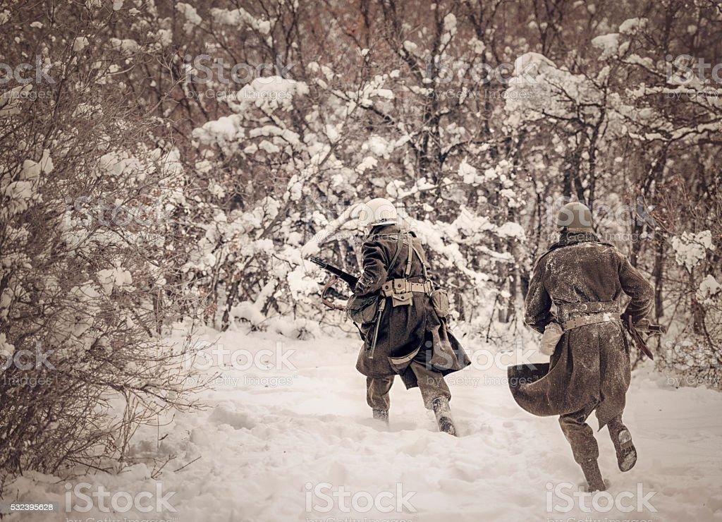 WWII US Infantry On Patrol stock photo