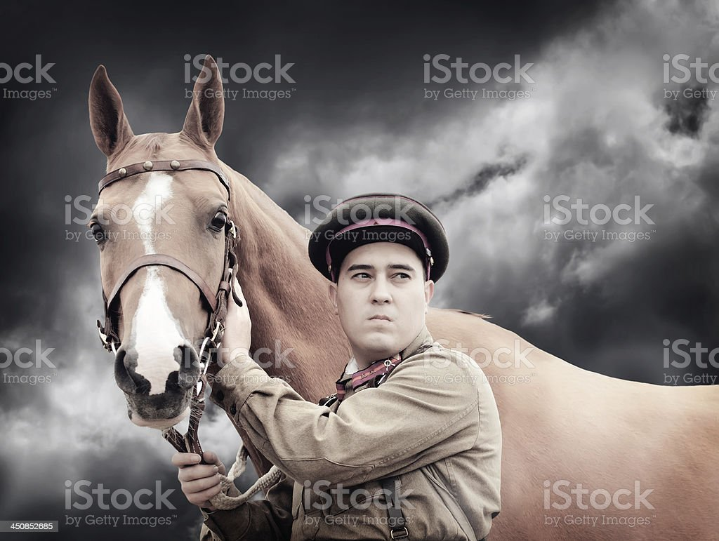 Infantry sergeant and horse stock photo