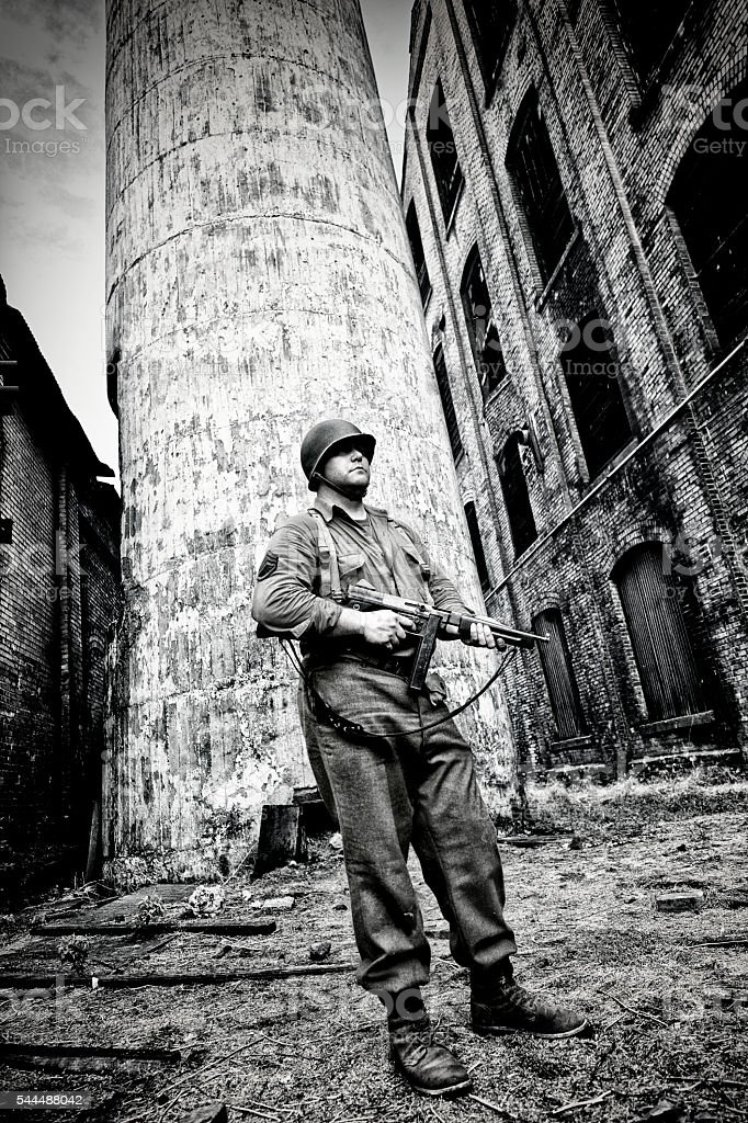 WWII US Infantry - Soldier On Guard Duty stock photo