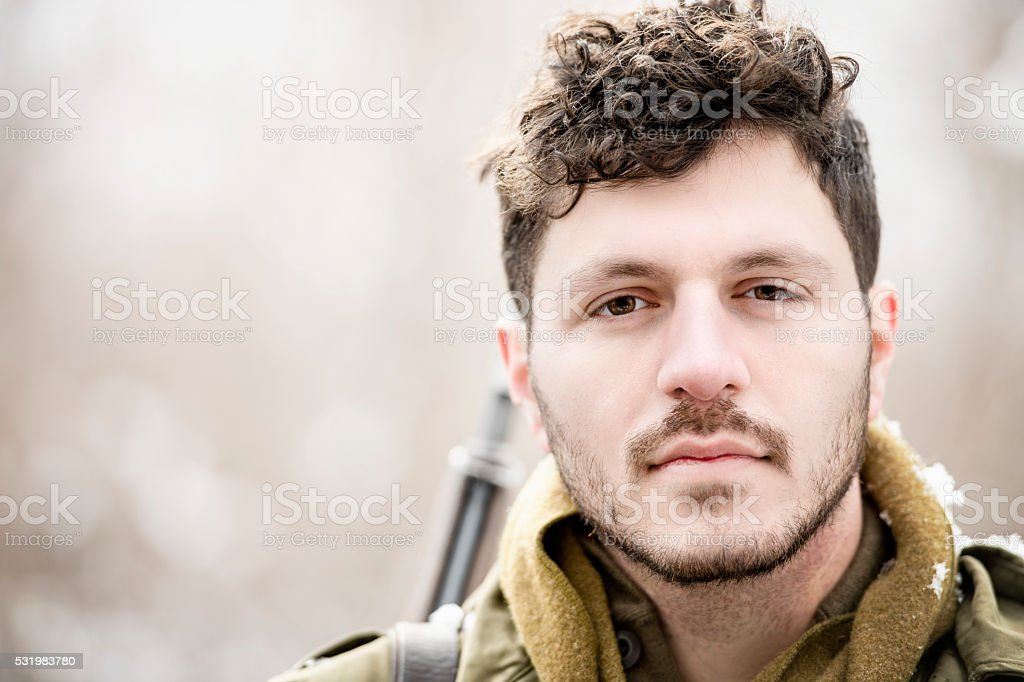 WWII US Infantry Soldier Portrait stock photo