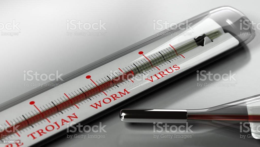 Infected Computer, Virus Alert. stock photo