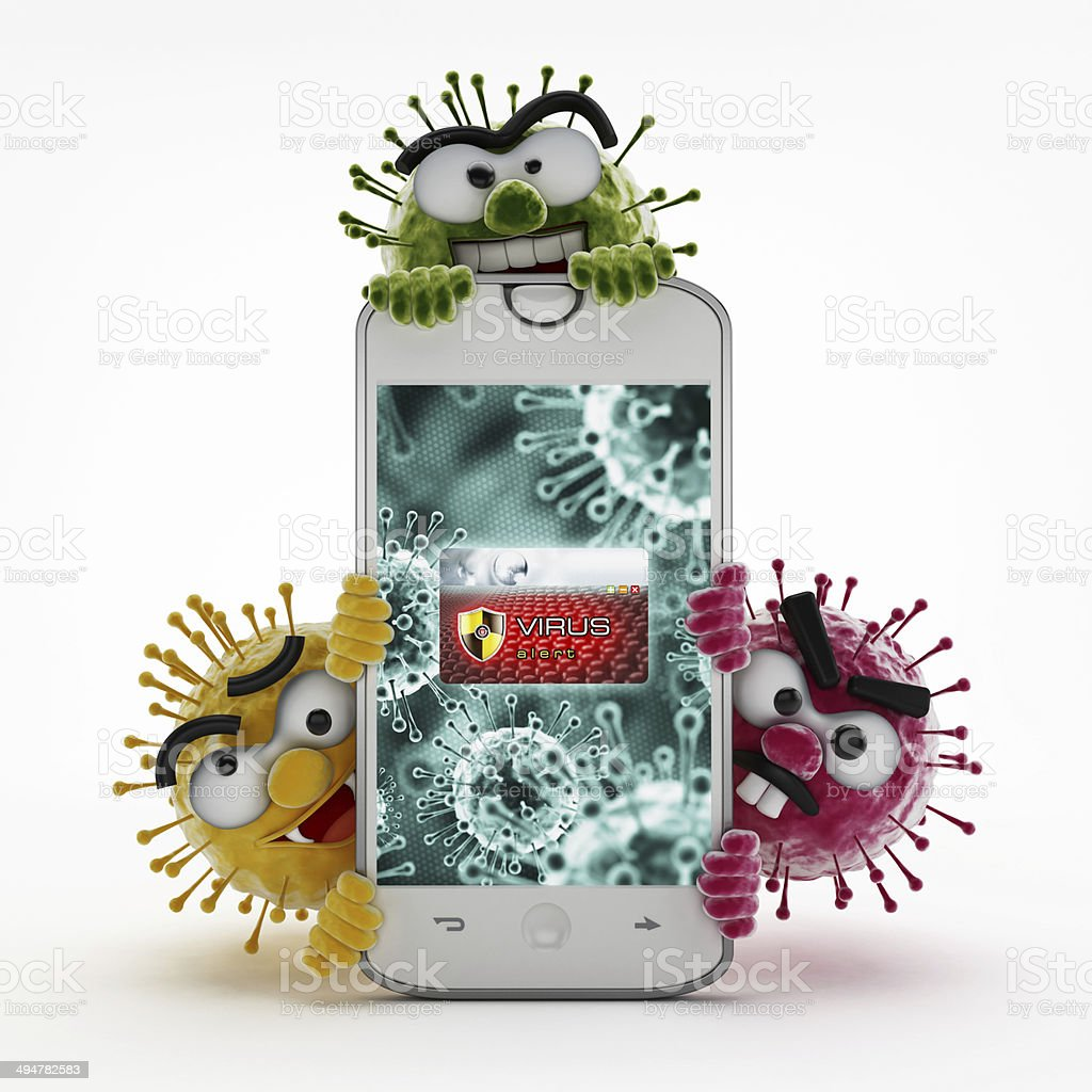Infected smartphone stock photo