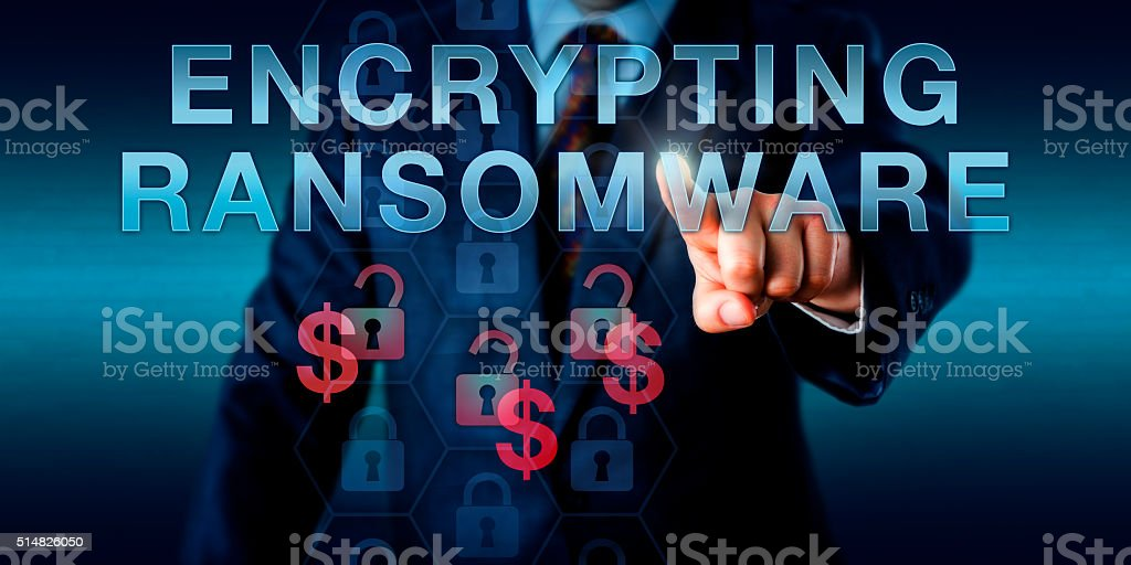 Infected User Pressing ENCRYPTING RANSOMWARE stock photo