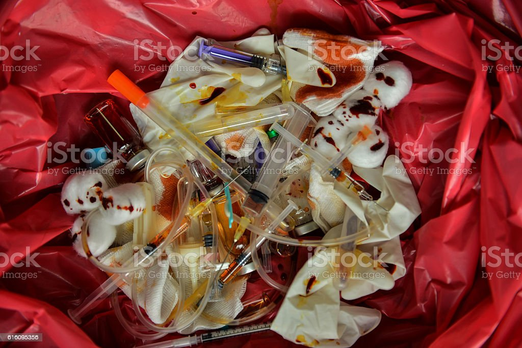 Infectious waste must be disposed of in the trash bag stock photo