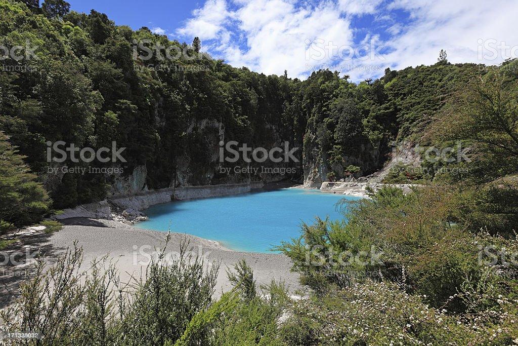Inferno crater, New Zealand stock photo