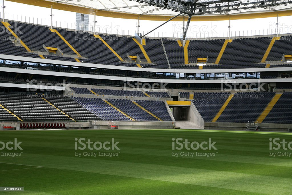 Infield of a soccer stadium stock photo
