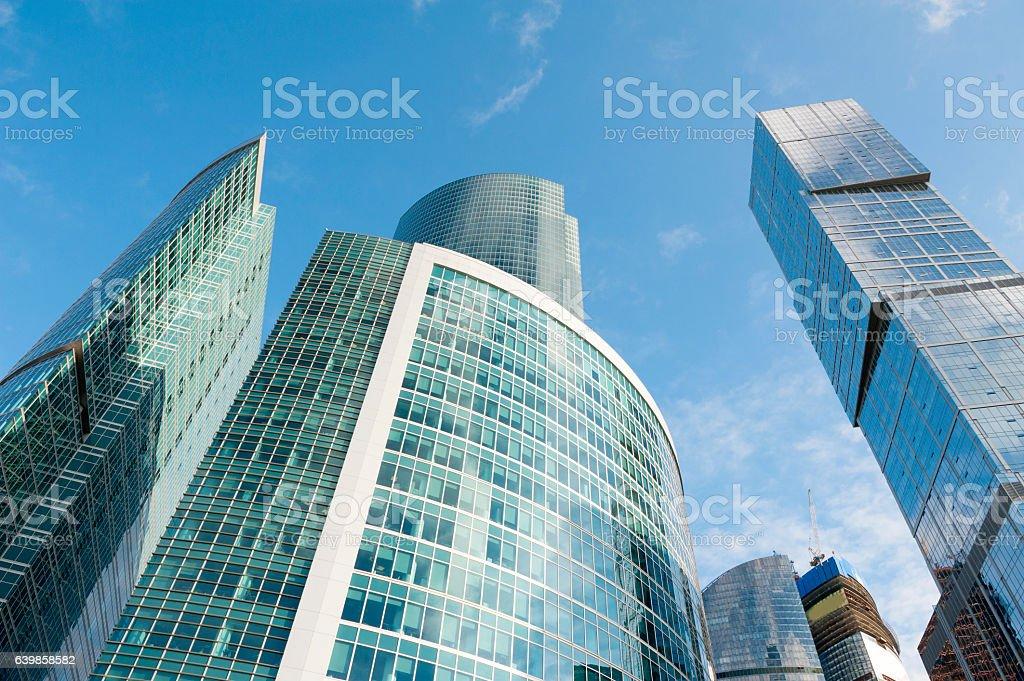 Infinite Corporate Buildings. Modern skyscrapers in business dis stock photo