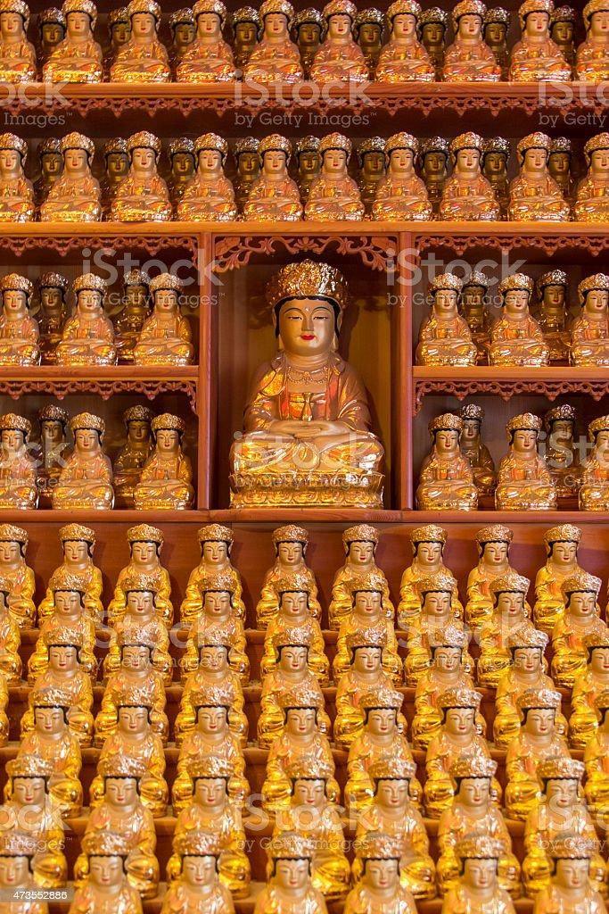 Infinite Rows of Buddhas stock photo