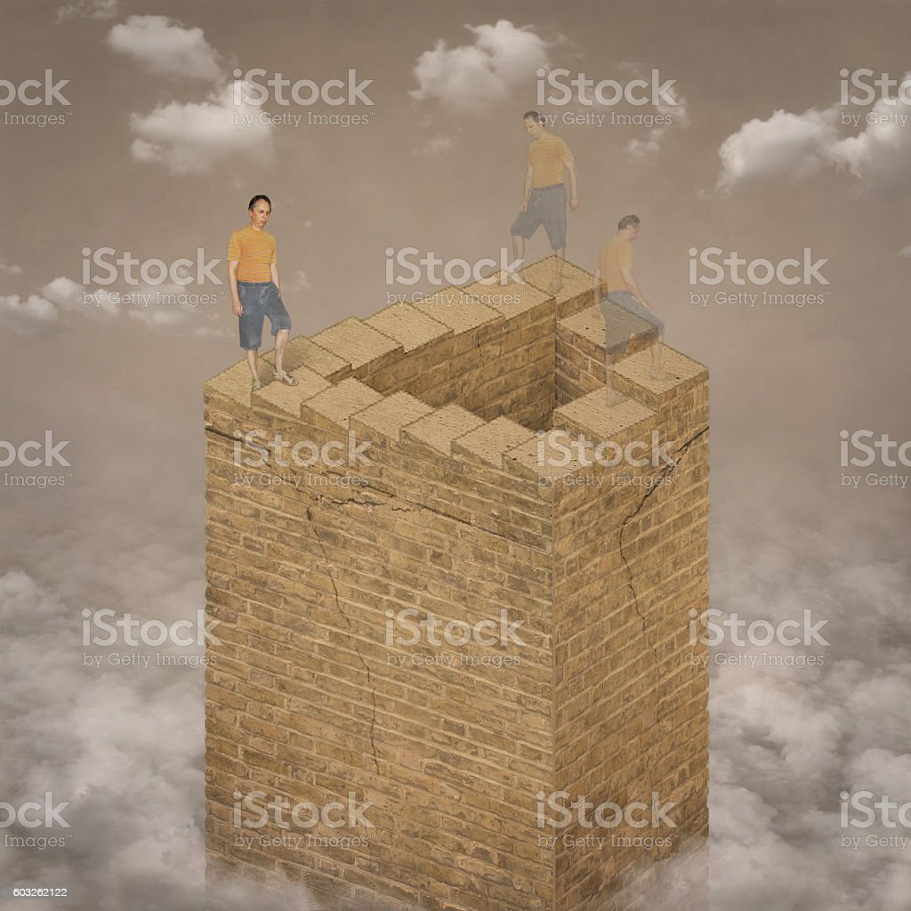 Infinite stair and walking up man. stock photo